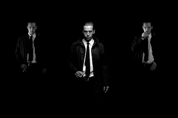 Film Noir fashion image triptych in black and white of a man smoking.